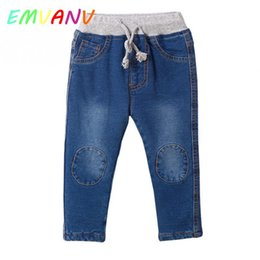 Wholesale thick knitted pants - Autumn Winter Boys Girls patch Knitting Jeans Long Length Baby Pants Thick Warm Casual Denim Trousers Children's Jeans