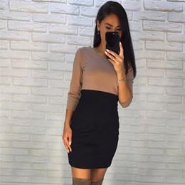 fd00ed27bf1e 2019 abito nero da ufficio per la signora 2018 nuove donne autunno kaki nero  patchwork dress