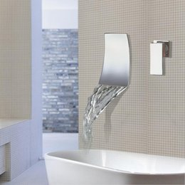 Wholesale Led Bathroom Vanity Lighting - Wall Mounted Waterfall Bathroom Faucet Chrome Brass Spout Vanity Sink Mixer Tap