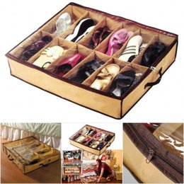 Wholesale box shelves - 12 Pair Under Bed Shoes Non-Woven Storage Closet Organizer Boxes Shoe Shelves Storage Box Organizador Furniture Home Decor