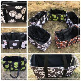 Wholesale big messenger bags - 5 Styles Baseball Softball Big Beach Bag Soccer Football Basketball Travel Sport Handbag Canvas Storage Bag Totes CCA9699 50pcs