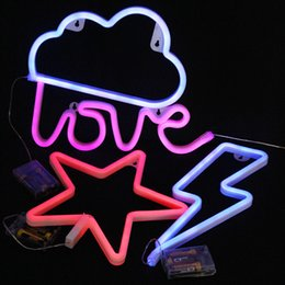 Wholesale Indoor Led Neon Lights - 4 kinds Indoor Lighting Wall Lamp LED Night Light Marquee Battery Operated Neon lights Sign for Home Christmas Decorations