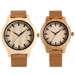 Wholesale Unique Bamboo - Trendy Lover's Wrist Watch Modern Women Unique Bamboo Wooden Clock Handmade Genuine Leather Band Strap Men Bangle Girl Gift