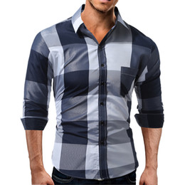 2018 New Arrival Mens Long Sleeve Cotton Blend Shirt Fashion Patchwork Pure Color Casual Male Shirts In My New Store Low Price
