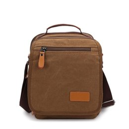 Wholesale Coffee Brown Dress - New Men Fashion Shoulder Bags Small Canvas Shoulder Bag Women Messenger Coffee Brown Khaki Work Travel Soft Unisex Bag