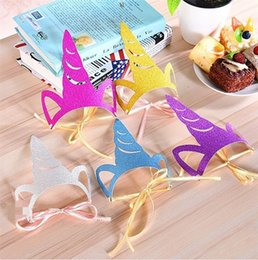 Wholesale Cartoon Birthday Caps - Creative Gold Powder Unicorn Cap Happy Birthday Party Decoration Kids Favors Colorful Cartoon Party Hat Hot Sale 1 38dy Y