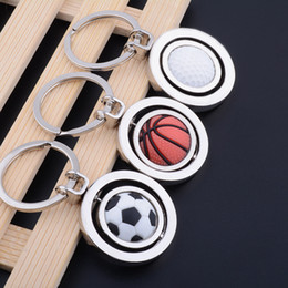 Wholesale Rotating Keychain - 2018 World Cup Football Keychain Creative Rotating Soccer Basketball Golf Key Chain Pendant Gifts Party offer customize logo OEM