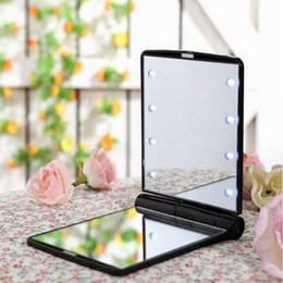 Wholesale Mirror Portable Vanity - Lady Makeup Cosmetic Magnifying Folding Pocket Makeup Led Mirror Portable Chargeable Vanity square Shell Cosmetic mirror