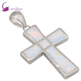 Wholesale natural overlay - Party Jewelry 925 Sterling Silver Overlay jewelry vintage Cross White Fire Opal pendants for women P142
