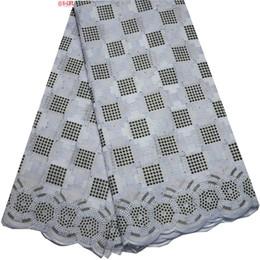Wholesale White Cotton Voile Fabric - White 2018 High Quality Swiss Voile Laces Switzerland 100% Cotton Dry Lace Design Original Nigerian Lace Fabrics Cotton Fabric SW-047