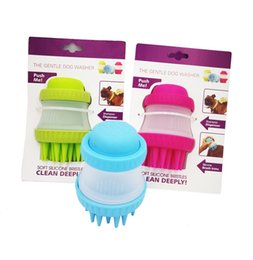 Wholesale Plastic Scrubbers - Pet dog soap dispensing brush for bath and massage scrubber pet bath brush reduce shedding during bath time rubber pet brush dog grooming