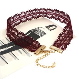 Wholesale rose lace choker - Simple Style Rose Red Lace Chain Hollow Flower Chokers Necklaces for Women Fashion Collar Necklaces for Girls Jewelry Wholesale
