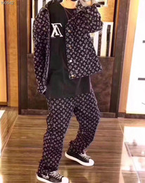 Wholesale Flowers Free Delivery - 2018 New arrival, old flower full, logo, cowboy suit, original quality, high quality, luxurious design leisure sports suit, free delivery.