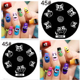 cat stamps Australia - Rose Grass 5PCS lot Cat Wool Round Patterns Nail Art Stamp Template Image Plate 5.5*5.5cm OM-45
