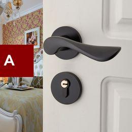 Alças de fechaduras antigas on-line-Simples e moderno fechaduras internas matte quarto preto fechaduras da porta da cozinha moda antigo preto Split bloqueio alças de bloqueio