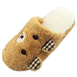 2018 Maybest Adorável Urso Casa Chão de Algodão-acolchoado Chinelos Sapatos de Inverno Moda chinelos família interior Quente cheap shoes winter bear de Fornecedores de sapatos urso de inverno