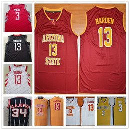 Wholesale red sun - Wake Forest #3 Chris Paul Arizona State Sun Devils 13 James Harden Red Black White 34 Hakeem Olajuwon Navy Retro College Basketball Jerseys