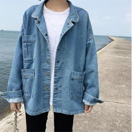 Wholesale Korean Long Sleeves For Girls - spring and autumn women loose leisure to do the old pocket lapel denim jacket Korean version Harajuku college wind for girls