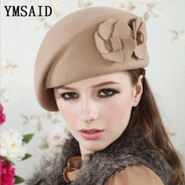 Cappello elegante del berretto delle lane di alta qualità delle donne di alta qualità di Ymsaid con i fiori doppi di lana affascinanti Cappello all'aperto del partito di inverno di autunno femminile da