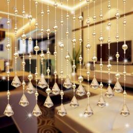 Perlas de cristal cortinas de la puerta online-Crystal Bead cortina de diamantes colgantes cortinas porche partición de lujo sala de estar dormitorio ventana de la puerta decoración de la boda 6 6wc gg