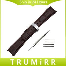 Canada Bracelet en Cuir Véritable avec Embout Courbé + Outil pour T035 Couturier Bracelet Bande de Fermoir en Buerfly Bracelet 22mm 23mm 24mm Offre