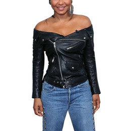 Wholesale Biker Jacket Black Women - Aproms Fall Black Faux Leather Off The Shoulder Short Jackets Zipper Women Biker Jacket 2018 Autumn Winter Outerwear Basic Coats