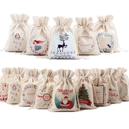 2019 rústico navidad Año nuevo bolsa de dulces de Navidad Papá Noel con cordón Saco de lona Saco de mesa rústico Vintage medias bolsa de regalo rústico navidad baratos