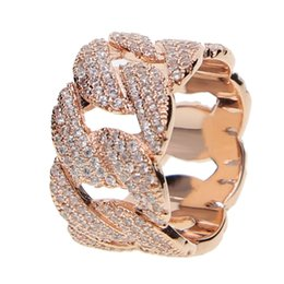 Wholesale hip rings - Hip Hop Ring Rock Bling Jewelry All Iced out Micro Pave Cubic Zirconia Cuban Chain Ring for Men Gift