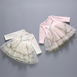 Wholesale Girls Simple Cotton Dresses - Girls' Printed Dresses Girl Spring Clothes Jacquard Princess Dress A-line Floral Dress Europe and America Style Simple Girl Dresses