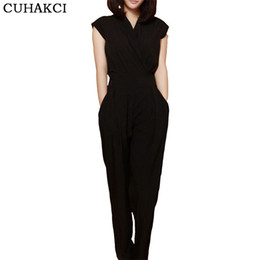 Wholesale Trousers For Womens - CUHAKCI Bodysuit Casual Fashion V Neck Sexy Summer Rompers Womens Jumpsuit for Woman Black Blue Clothing Long Trousers