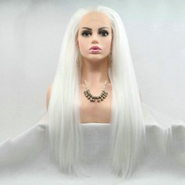 cosplay white straight long hair Promo Codes - New Style Cosplay Snow White Yaki Straight Natural Hairline Free Parted Cheap Long Synthetic Hair Heat Resistant Handmade Lace Front Wigs