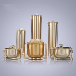Wholesale Cosmetic Cream Containers Plastic - 15g 30g 50g 30ml 50ml 100ml Empty Gold Square Shape Acrylic Lotion Cream Pump Bottle Cosmetic Container Luxury Bow cream jar