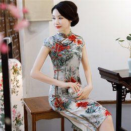 3f53b66d1085 Spring New Long Section Cheongsam Dress Vintage Women s Elegant Chinese Ink  Painting Style Cheongsam Daily Qipao