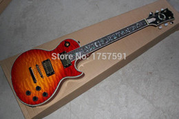 Wholesale Fretboard Inlays - HOT SALE Top Quality 6 String Custom Shop Mahogany body Tree of Life fretboard inlay cherry red electric guitar