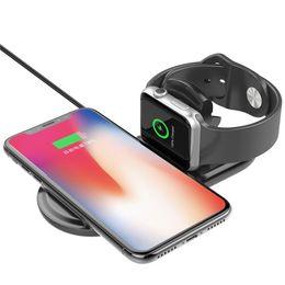 iphone qi dock Rebajas Qi Cargador Inalámbrico de Carga Rápida Para Apple Watch 3 Iwatch Iphone X 8 más 2 en 1 Adaptador Inalámbrico Inalámbrico Dock para el teléfono