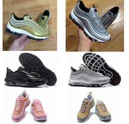 Wholesale Hard Soled Shoes - 2018 newest colors men air 97s running shoes best quality air cushion 97 OG Metallic sneaker women's air sole sports shoes
