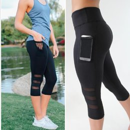 Wholesale high waist mesh leggings - Mesh Women Yoga Pants High Waist 3 4 Length Side Pocket Black Sports Leggings Women Fitness Clothes Running Tights GYM Clothing