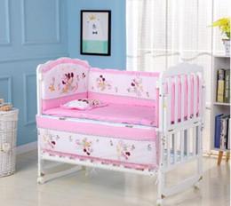 100% Baumwolle Kinderbett Stoßstangen für Baby bestickt Bär weiche Auflage Kinderschutz jedes Stück freie Kombination Kleinkind Bettwäsche Set von Fabrikanten