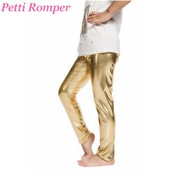 Leggings de cuero de imitación de oro online-Nueva primavera otoño niño Legging bebés niñas pantalones pitillo elástico Faux cuero PU niños oro plata negro polainas envío gratis