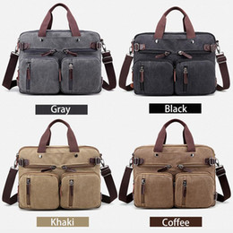Wholesale Vintage Bag Packs - New Men Handbags Canvas Shoulder Crossbody Bags Men Messenger Bags Solid Man Casual Travel Multifunction Back Pack Laptop
