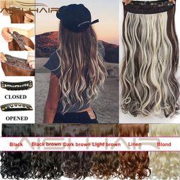 Las extensiones de clip resistentes al calor online-Extensión sintética larga ondulada del pelo rizado de la extensión del pelo rizado sintético en las extensiones del pelo para las mujeres