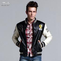 Wholesale Modern Jacket Men - Modern 2017 autumn and winter thickening outerwear male leather jacket lovers baseball uniform jacket plus size baseball uniform