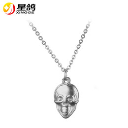 Wholesale Skull Sweater Necklace - High quality Stainless steel Skull Pendant necklace Long Sweater Chain Necklace silver gold tone jewelry wholesales