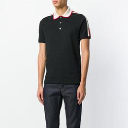 Wholesale Collar Polo Shirt Men - Runway Light Cotton polo with G&G stripe t shirt for man New arrive Italy design brand contrast collar polo shirt men fashion ow poloshirt