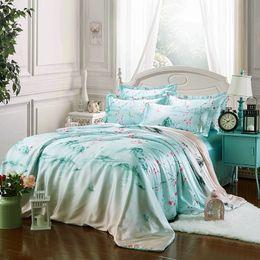 Wholesale Pure Silk Duvet Cover - 2017 Summer supplie 100% pure satin silk bedding set Bedclothes,Duvet cover Flat sheet pillowcases Wholesale Green ink painting