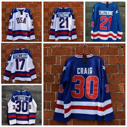 Jersey de hockey online-1980 Miracle On Ice Team EE. UU. 21 Mike Eruzione Jersey de hockey Jersey 30 Jim Craig 17 Jack Callahan Azul Blanco cosido para hombre Jerseys