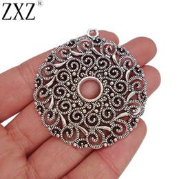 de36adf17a06 ZXZ 5 unids Gran Hueco de Plata Antiguo Abierto Redondo de la Flor del  Círculo Spiral Swirl Charms Colgantes para la Fabricación de Joyas  Hallazgos 53x48mm ...