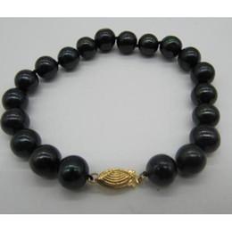 2019 chiusura in oro nero perla BRACCIALE NATURALE TAHITIAN PERLA NERA PERLA 7,5-8 POLLICE IN ORO GIALLO 14K chiusura in oro nero perla economici