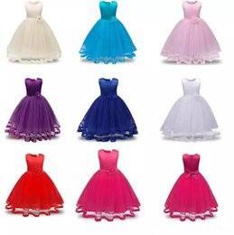 Wholesale Girls Chiffon Pageant Gowns - Flower Girls Dresses Children Princess Pageant Formal Wedding Dress Party Kids Clothes Girls Long Dress Bridesmaid Ball Gown B11