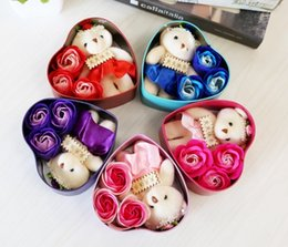 Wholesale Display Dolls - Romantic Rose Soap Flower With Little Cute Bear Doll 3 Rose 1 Bear Heart Tin Box Valentine Day Gifts Wedding Gift birthday